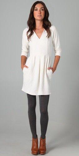White Dress + Grey/Gray Tights/Leggings + Tan/Camel/Cognac Booties
