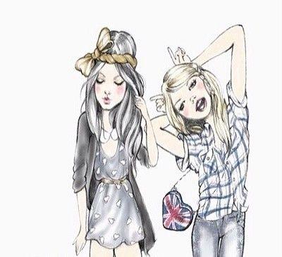dibujos de mejores amigas por siempre dibujar  BFF AA  Pinterest