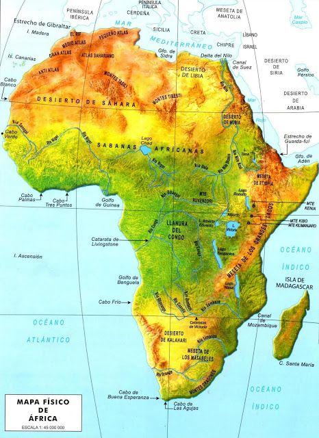 Paises De Africa Mapa Interactivo.Mapa Fisico De Africa En 2019 Africa Mapa Mapa
