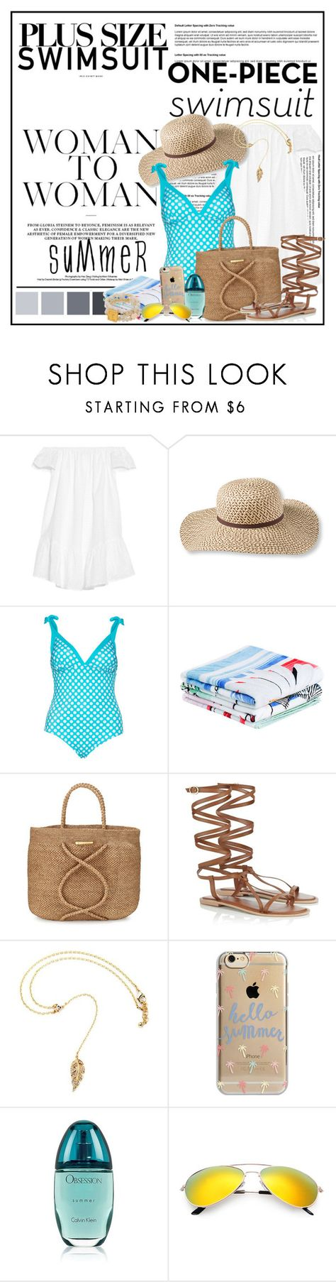 """Stylish Curves: Swimwear Edition"" by cindy88 ❤ liked on Polyvore featuring Elizabeth and James, L.L.Bean, Persona, Desigual, ViX, Lipsy, Agent 18, Calvin Klein, stylishcurves and plussizeswimsuit"