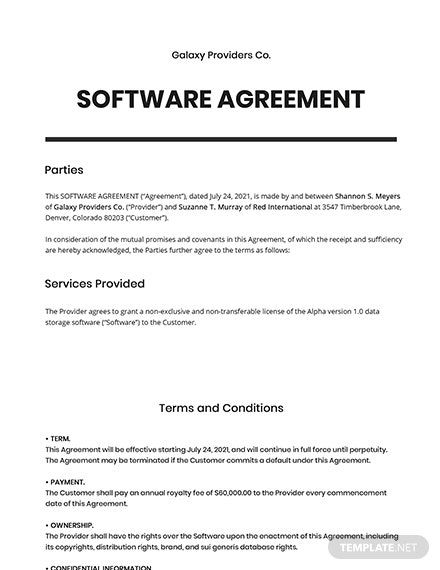 67 Free Software Agreement Templates Edit Download Template Net Agreement Templates Word Doc