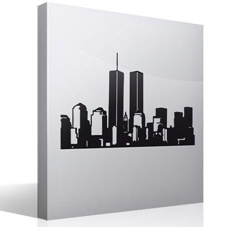 Lo skyline di new york (usa) con statua della libertà. Paesaggio 1 Adesivi Murali Adesivi Murali Adesivi Murale