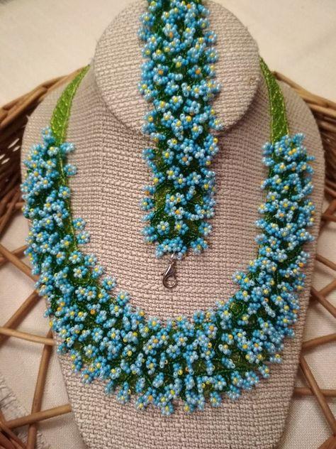 Forget Me Not. Ukrainian necklace - new season bijouterie