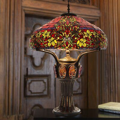 River Of Goods Double Lit Hampstead 34 Table Lamp Stained Glass Light Stained Glass Lamps Stained Glass Table Lamps