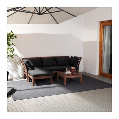 Applaro 3 Seat Modular Sofa Outdoor With Footstool Brown Stained Brown Stained Black Hallo Black 56 1 4 87 3 4x31 1 2x30 3 4 Modular Corner Sofa Corner Sofa Furniture