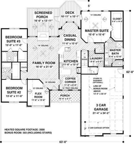 31 Ideas House Plans One Story 2000 Sq Ft Craftsman Craftsman Style House Plans Ranch Style House Plans Bungalow Style House Plans