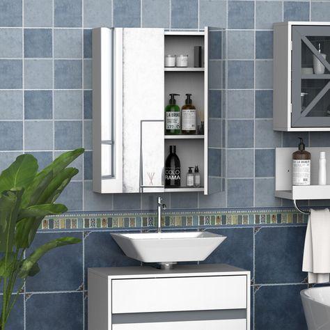 Wall Mount Mirror Cabinet Bathroom Storage - White