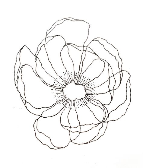 Anemone flower in a translucent watercolor technique. Flower Line Drawings, Line Flower, Flower Art, Flower Design Drawing, Line Art Flowers, Doodle Drawings, Doodle Art, Line Art Tattoos, Anemone Flower