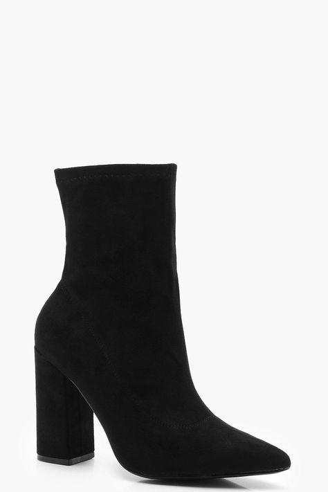 Extra Wide Fit Block Heel Sock Boots Boohoo Uk In 2020 Socks And Heels Black Heel Boots Boots