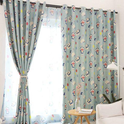 遮光カーテン オーダーカーテン uvカット ポリエステル ドラえもん柄 北欧風 子供屋 3級遮光カーテン 1枚 curtains home decor blackout curtains