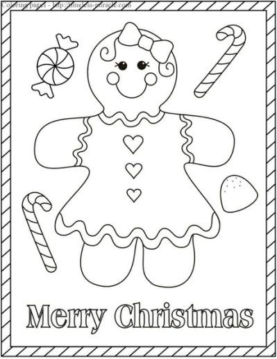 Gingerbread Girl Coloring Page Christmas Coloring Sheets