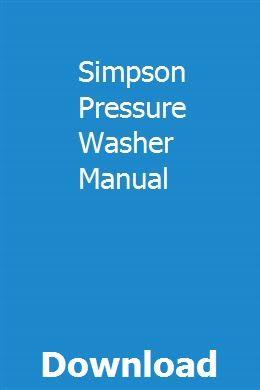 Simpson Pressure Washer Manual Repair Manuals Reloading Manual Owners Manuals
