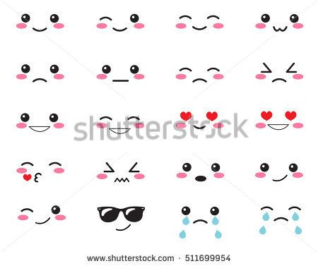 Japanese Set Emotions Set Japanese Smiles Kawaii Face On A White Background Cute Collection Emotions An Kawaii Faces Kawaii Drawings Anime Faces Expressions