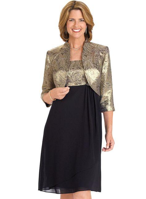 Gold Brocade & Georgette Jacket Dress at http://www.AmeriMark.com.#choirdress #formaldress #amerimark #anthonyrichards #georgettedress