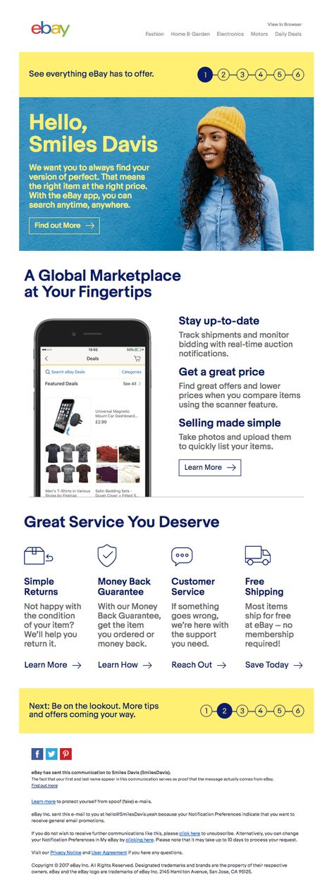 Your journey starts with the eBay app | Really Good Emails