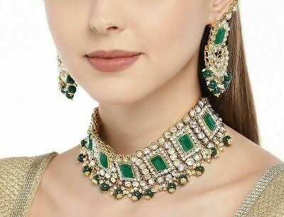 Indian Bollywood Green Pearl Kundan Choker Necklace Earrings Fashion Jewelry Set