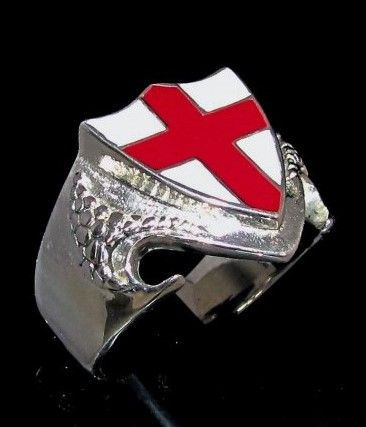 Sterling Silver Flag Ring English Cross On Dragon Shield England Red Cross On White Enamel In 2020 Dragon Shield White Enamel Enamel Cross