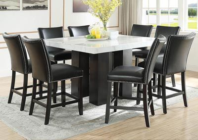 Camila Brown Square Counter Marble Top Dining Set W 8 Chairs Black Pu Category Dining Room Camila Brown Perfect Living Room Marble Dining Dining Room Sets
