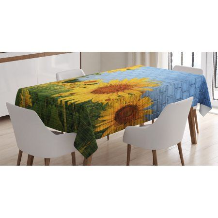 Rustic Home Decor Tablecloth Sunflowers On Wall Peaceful Habitat Meadow Valley In Rural Village Rectangular Table Cover For Dining Room Kitchen 60 X 84 Inche Rectangular Table Table Cloth Table Covers