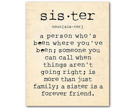 This typography print reads a person who's been where you've been; someone you can call when things aren't going right; is more than just family; a sister is a forever friend. Select from backgrounds shown or specify color to match your decor. Just state preference in note to #birthdayquotes