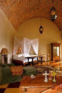 Bedroom in Hacienda Las Trancas, a 450-year old estate near Delores Hildalgo in Guanjuato, Mexico.