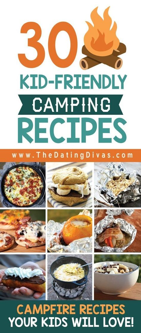 Easy camping meals for the family. SO many great kid-friendly camping recipes and camping food ideas. From The Dating Divas Camping Snacks, Camping Hacks With Kids, Camping Activities For Kids, Camping List, Camping Games, Camping Checklist, Family Camping, Tent Camping, Camping Essentials
