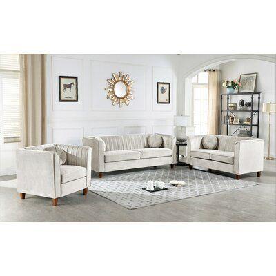Mercer41 Brennon Chesterfield 3 Piece Living Room Set Upholstery