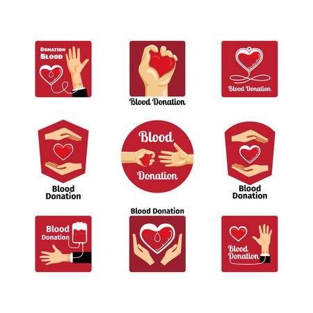 Buy Blood Donation Emblems by on GraphicRiver. Labels and badges donating blood on a white background. Vector and illustration