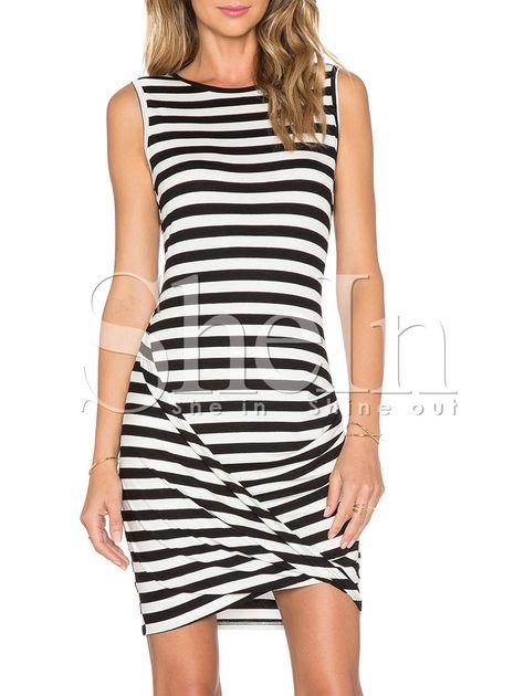 Black White Striped Bodycon Petites Dress 10.99