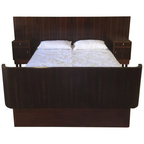 Art Deco Queen Size Bed And Bedside Tables In Macassar Wood Bed