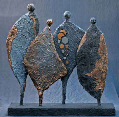 Powertex abstract figure sculptures textured with Powertex Stone Art Galerie - Josefine-Art