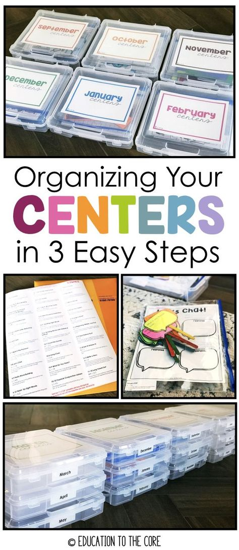 Organizing Your Centers in 3 Easy Steps Consider this scenario: You find the perfect centers, print, laminate, cut and use them for the week. Your kids love them and you are quite proud of your students' gains. If you're lucky, you can use that center for 1st Grade Centers, Kindergarten Centers, Literacy Centers, New Classroom, Kindergarten Classroom, Classroom Decor, Classroom Libraries, Kindergarten Decoration, Classroom Hacks