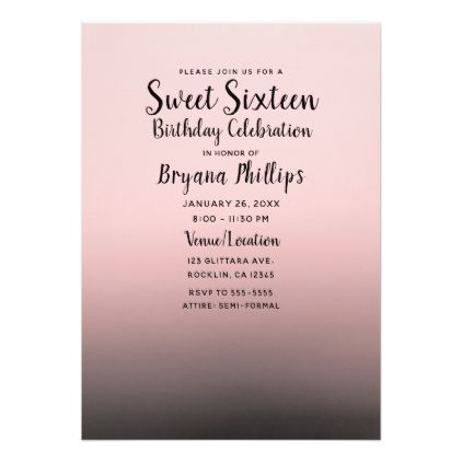 Blush Pink Black Ombre Modern Chic Sweet 16 Party Invitation Zazzle Com Sweet 16 Party Invitations Sweet 16 Invitations Sweet 16 Parties