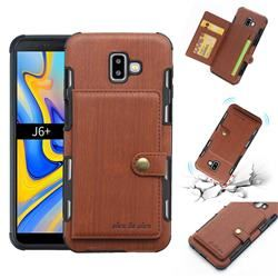 Brush Multi Function Leather Phone Case For Samsung Galaxy J6 Plus J6 Prime Brown Galaxy J6 Plus Cases Guuds Leather Phone Case Wallet Phone Case Samsung Galaxy