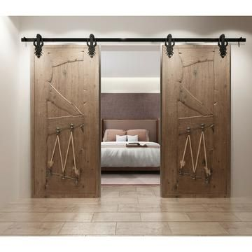 Imperial Single Double Barn Door Hardware Kit 5 16 Track Rustic Rolling Doors Barn Door Hardware Barn Door Door Hardware