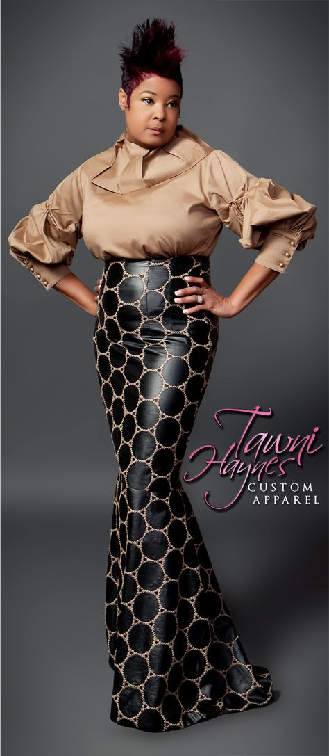 Tawni Haynes Custom Made High Waisted Embroidered Black Leather Skirt and Cappuccino Brown Pleated Collar Blouse. Tawni Haynes 972-754-5096