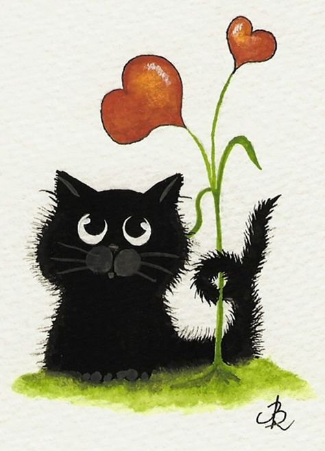 """""""Tiny Black Cat Kitten Valentine Two Hearts are mine"""" by AmyLyn Bihrle   - Tiere Tubes & Wallpapers - #AmyLyn #Bihrle #Black #cat #hearts #kitten #minequot #quotTiny #Tiere #Tubes #Valentine #Wallpapers"""
