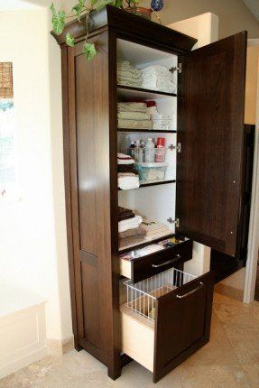 Bathroom Linen Tower, Tall Bathroom Cabinet With Laundry Hamper