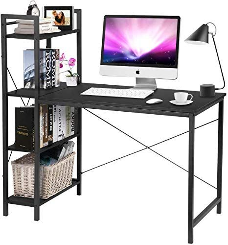 Amazing Offer On Kingso Computer Desk 47 5 Modern Simple Style Writing Study Table Shelves Multipurpose Pc Workstation Home Office Desk Study Room Bedroom In 2020 Modern Computer Desk Computer Desk Home Office Desks