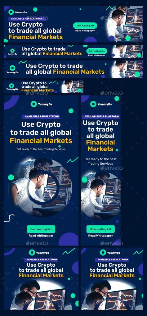 Animated Cryptocurrency and Stock Exchange Web Banners Design