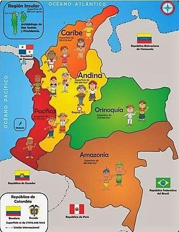 T2 C4 3º Las Regiones Naturales De Colombia Mapa De Colombia Enseñanza De La Geografía Enseñanza De La Historia