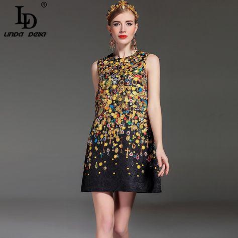 34c3569fca Designer Runway Summer Dress Women s Sleeveless Straight Luxury Beading  Jacquard Printed Vintage Dress