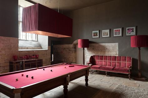 Snooker Table In A Red Room Pool Table Room Snooker Room Interior