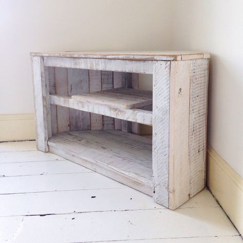 Made to order - Handmade Rustic Corner Table / TV Stand with Shelf in White. **Please note I currently wont be able to take on any more orders until after Christmas, but please dont hesitate to contact me if you have any questions or enquiries. Kind regards, Remy** Made from 100%