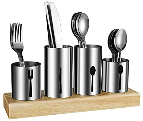 Amazon Com Silverware Holder Habilife Utensil Holder With Caddy Silverware Container For Spoons Knives Forks S In 2020 Utensil Silverware Holder Silverware Display