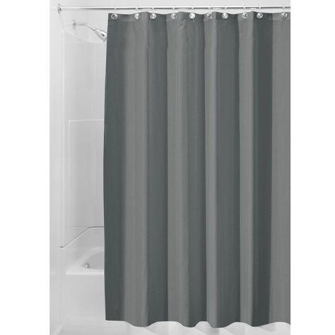Extra Long Fabric Shower Curtain Charcoal Gray 72 x 96 Bathroom Spa Bathtub…