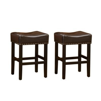 Noble House Laramie 30 In Chocolate Brown Leather Backless Bar