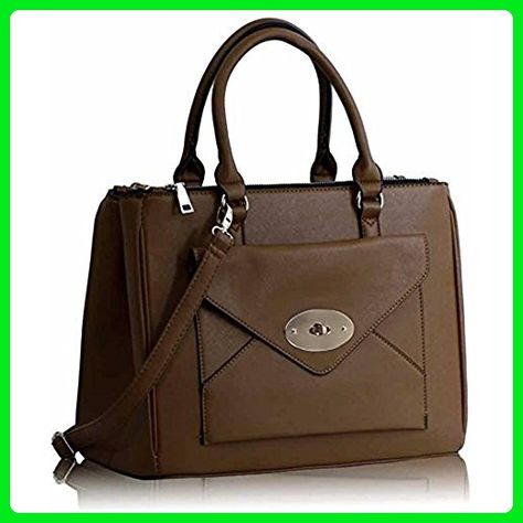 Ladies Designer Handbags Faux Leather Front-pocket Tote Shoulder Bags