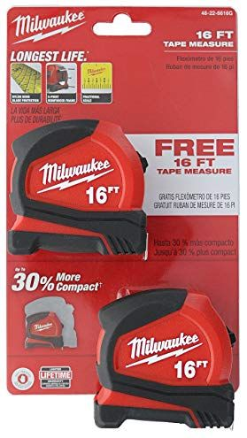 Milwaukee 48 22 6616g 2 Pack Of 16 Compact Tape Measures W Double Sided Tape And Scoring Hook Review Tape Measures Tape Double Sided Tape