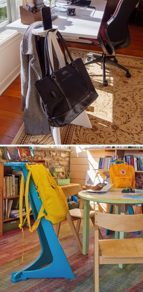 Ever felt weird keeping your well-designed backpack on a dirty floor? This side-table lets you hang